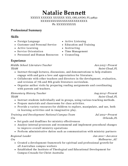 Middle School Literature Teacher resume sample Florida