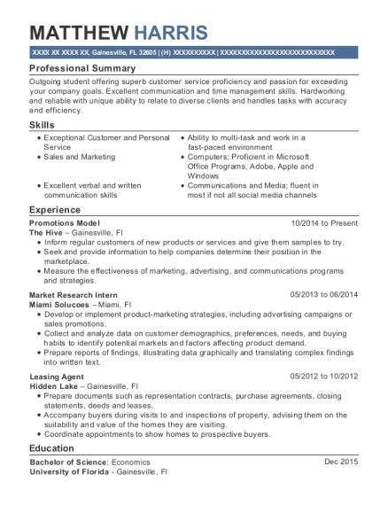 Promotions Model resume format Florida