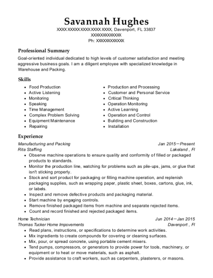 Manufacturing and Packing resume template Florida