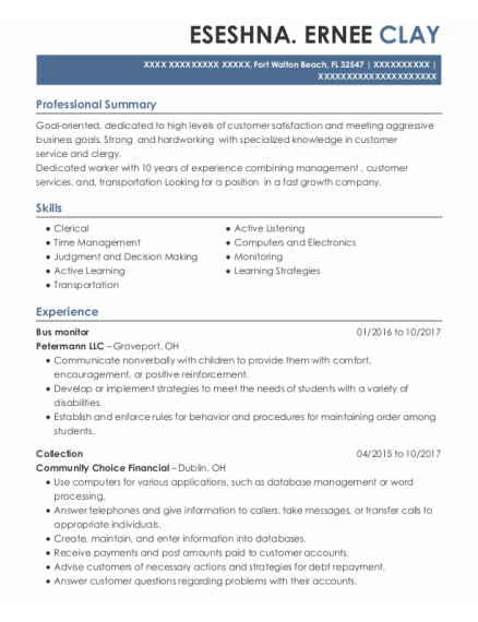 Bus Monitor resume sample Florida