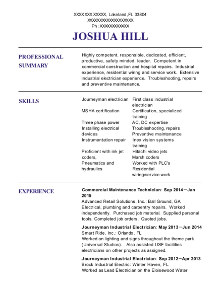 Commercial Maintenance Technician resume template Florida