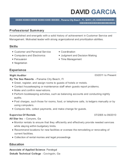 Night Auditor resume format Florida