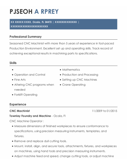 CNC Machinist resume template Florida