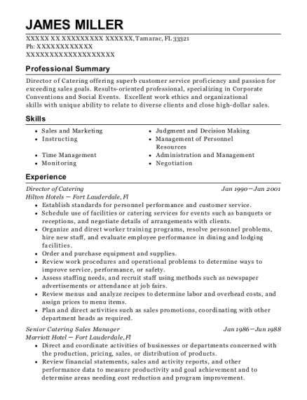 Director of Catering resume sample Florida