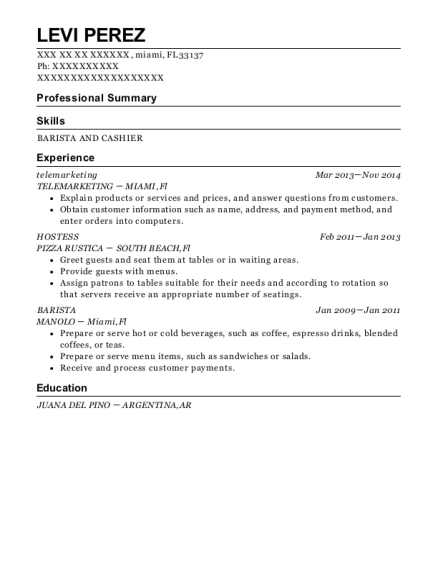 telemarketing resume sample Florida