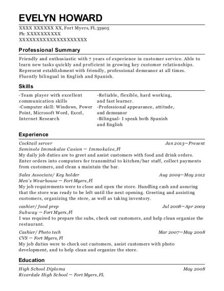 Cocktail server resume template Florida
