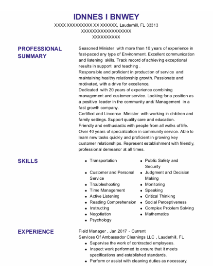 Field Manager resume example Florida