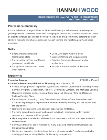 Executive Director resume sample Florida