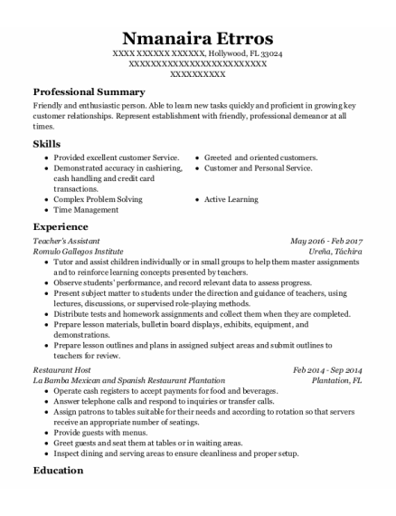 Teachers Assistant resume example Florida