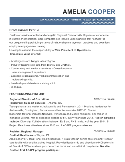 Regional Director of Operations resume sample Florida