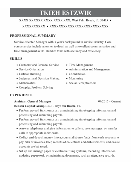Assistant General Manager resume example Florida