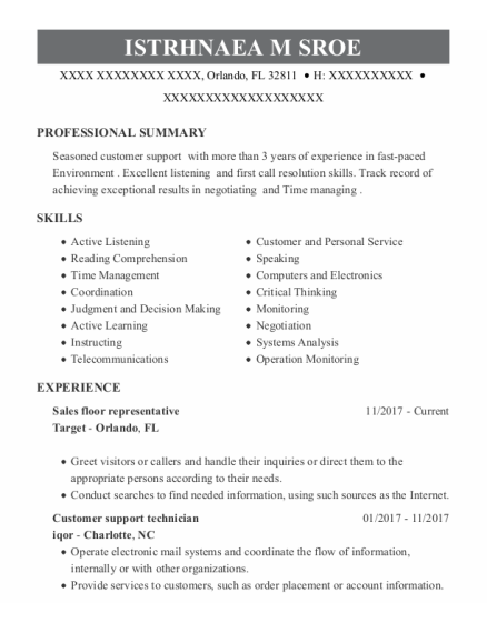 Sales Floor Representative resume sample Florida
