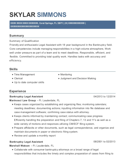 Bankruptcy Legal Assistant resume sample Florida