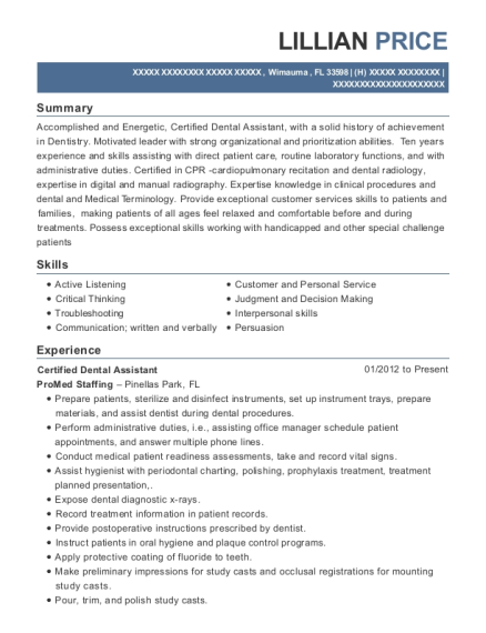 Certified Dental Assistant resume template Florida