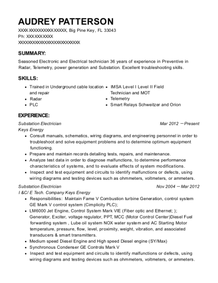 Substation Electrician resume example Florida