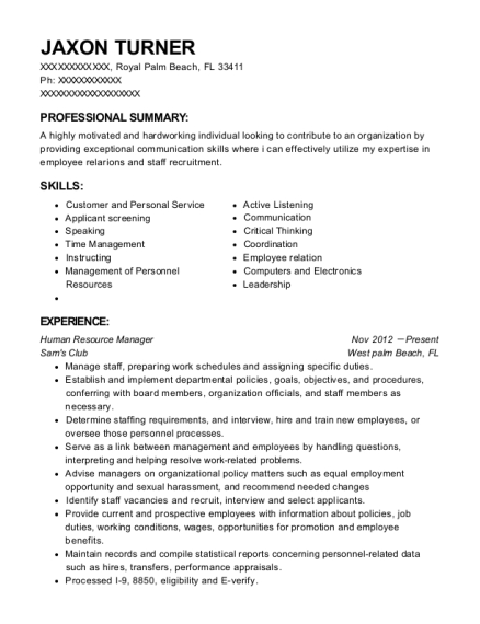 Human Resource Manager resume format Florida