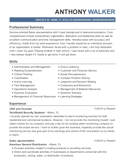 CEO and Founder resume example Florida
