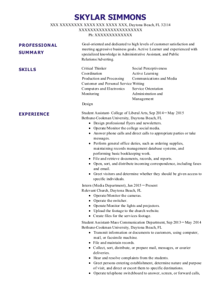 Student Assistant College of Liberal Arts resume format Florida