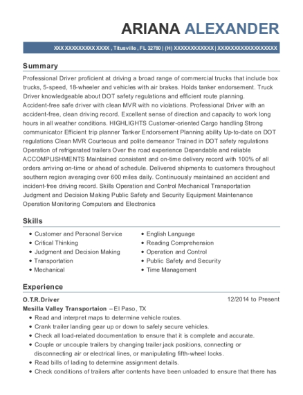 OTRDriver resume template Florida