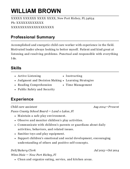 Child care assistant resume template Florida
