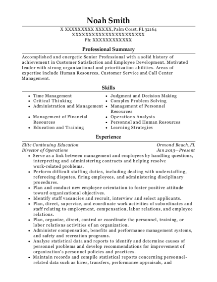 Director of Operations resume template Florida
