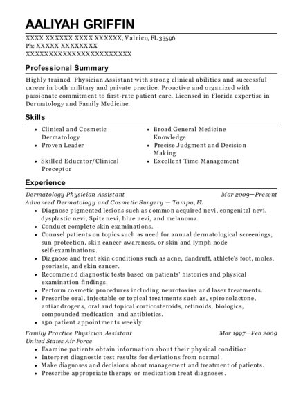Dermatology Physician Assistant resume template Florida