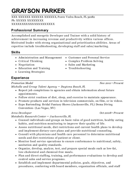 Promotion Model resume example Florida