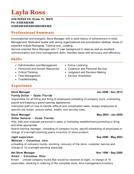 Store Manager resume example Florida