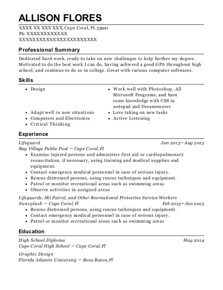 Lifeguard resume sample Florida