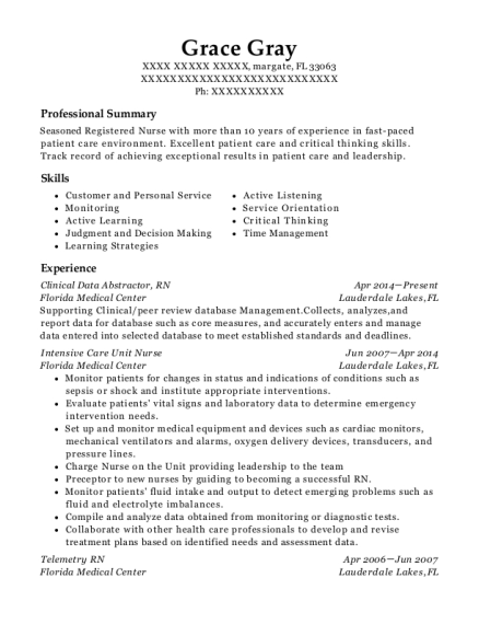 Clinical Data Abstractor resume example Florida
