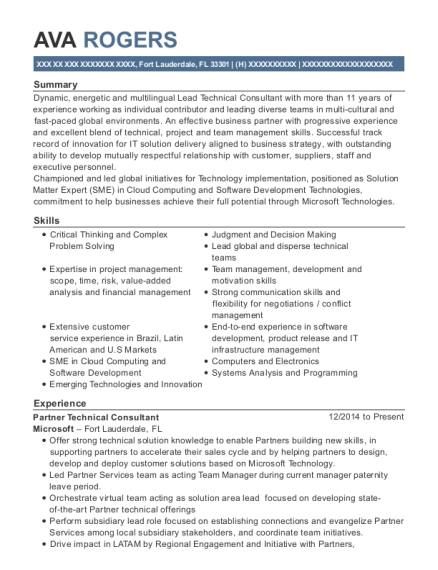 Partner Technical Consultant resume sample Florida