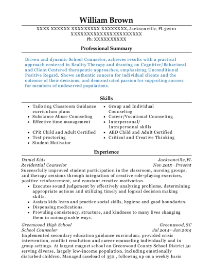 Residential Counselor resume format Florida