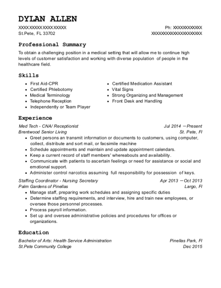 Med Tech CNA resume format Florida