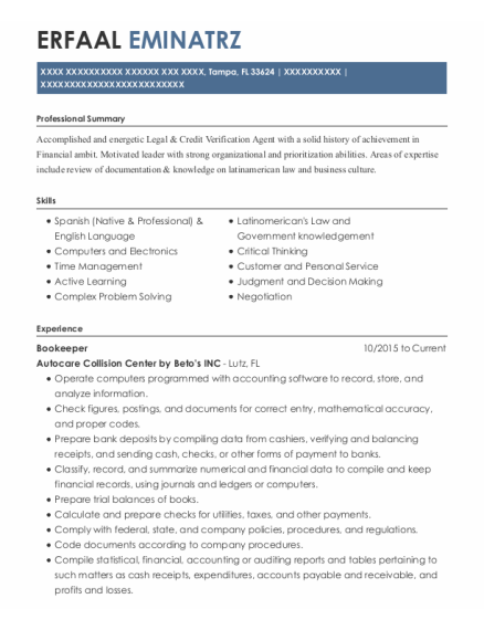 Bookeeper resume example Florida