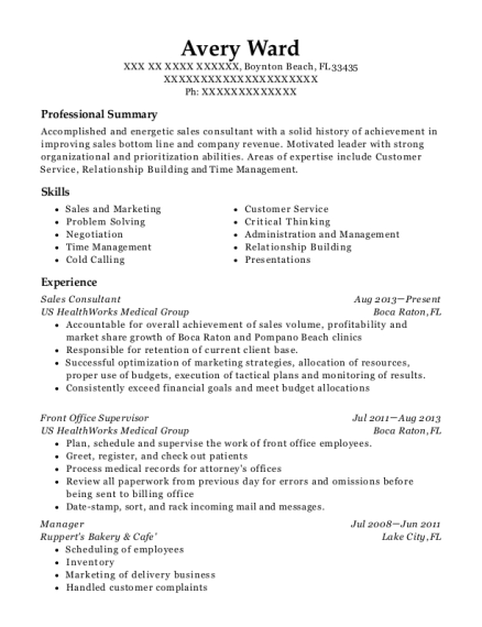 Sales Consultant resume example Florida