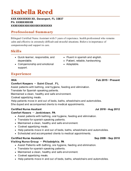 HHA resume template Florida