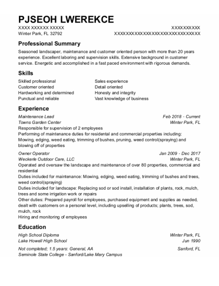 Maintenance Lead resume sample Florida