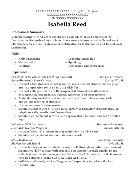 Developmental Education Teaching Assistant resume example Florida