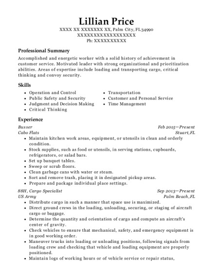 Busser resume sample Florida