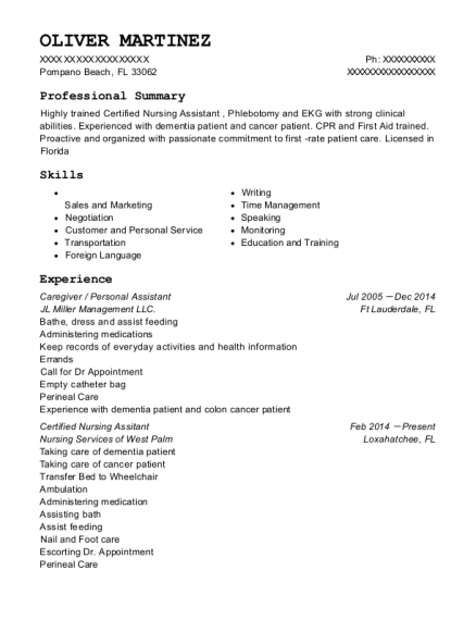 Caregiver resume sample Florida