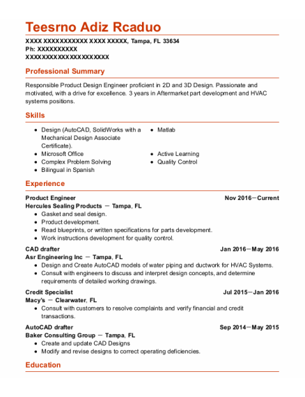 Product Engineer resume example Florida