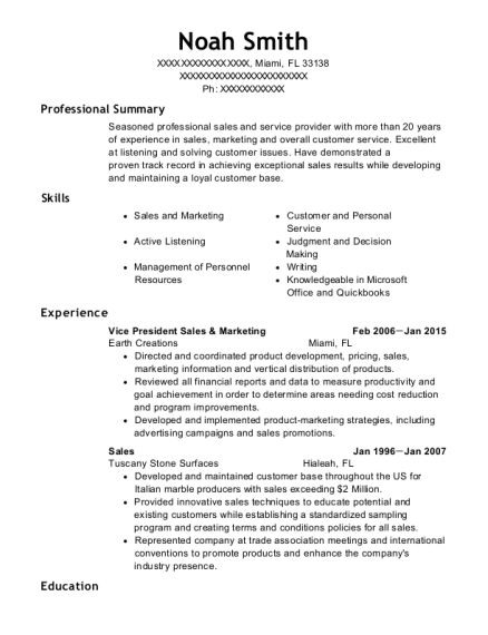 Vice President Sales & Marketing resume format Florida