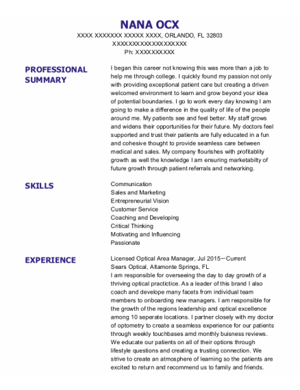 Licensed Optician resume example Florida
