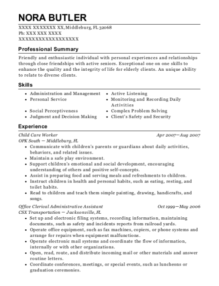 Child Care Worker resume template Florida