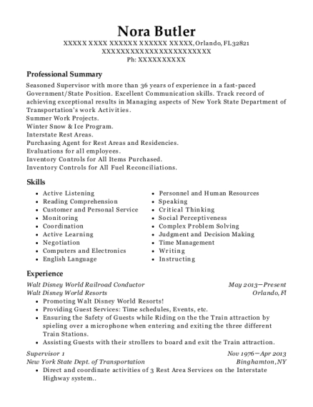 norfolk southern conductor resume sample