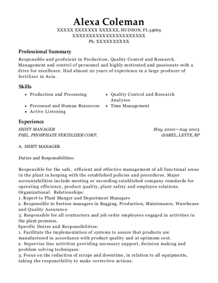 Shift Manager resume example Florida