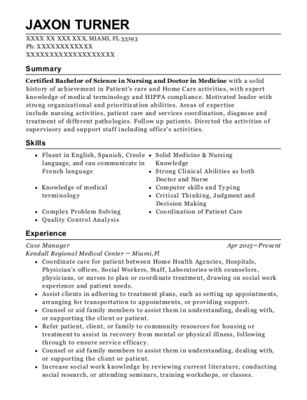 Case Manager resume format Florida