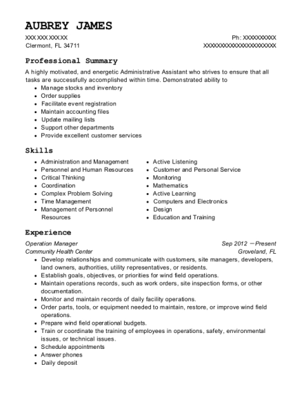 Operation Manager resume template Florida
