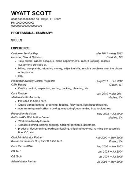 Customer Service Rep resume template Florida
