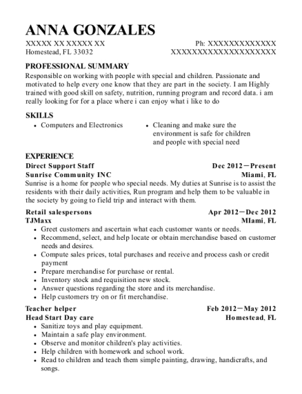 Direct Support Staff resume sample Florida